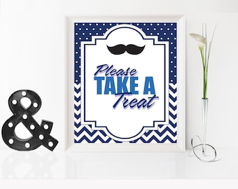 Baby Shower Please take a treat Sign, Little Man Baby Shower Sign, Mustache Baby Shower Decoration, Boy Baby Shower, Mustache Party Decor