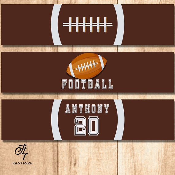 Football Party Water Bottle Labels Birthday