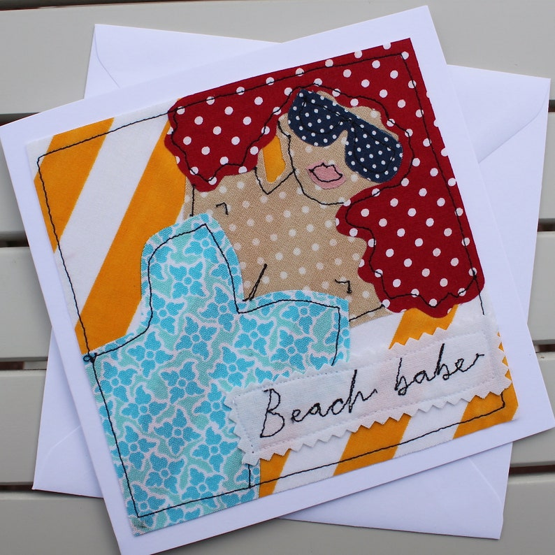 Beach Babe Birthday Card Blank Handmade Fabric