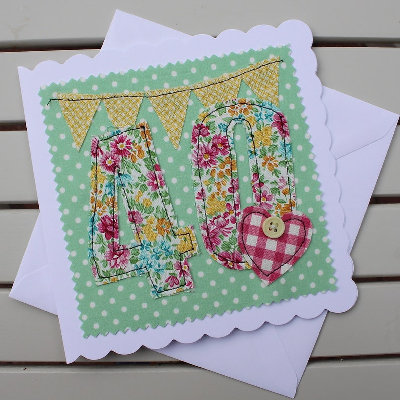 40th Birthday Card Handmade Fabric Personalised For Women