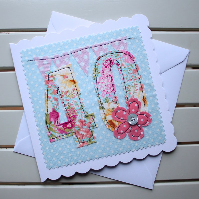 40th Birthday Card Handmade Original Textile Machine