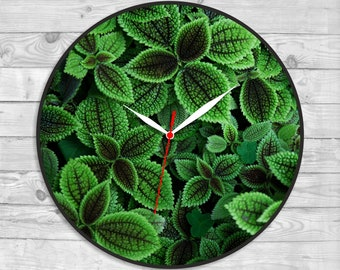 389f85ba0d88 Leaves Natural decor Foliage clock Clock with wood Vinyl sticker Green  clock Forest image Craft sale 1 yr wedding gift Shopstyle Wall decor