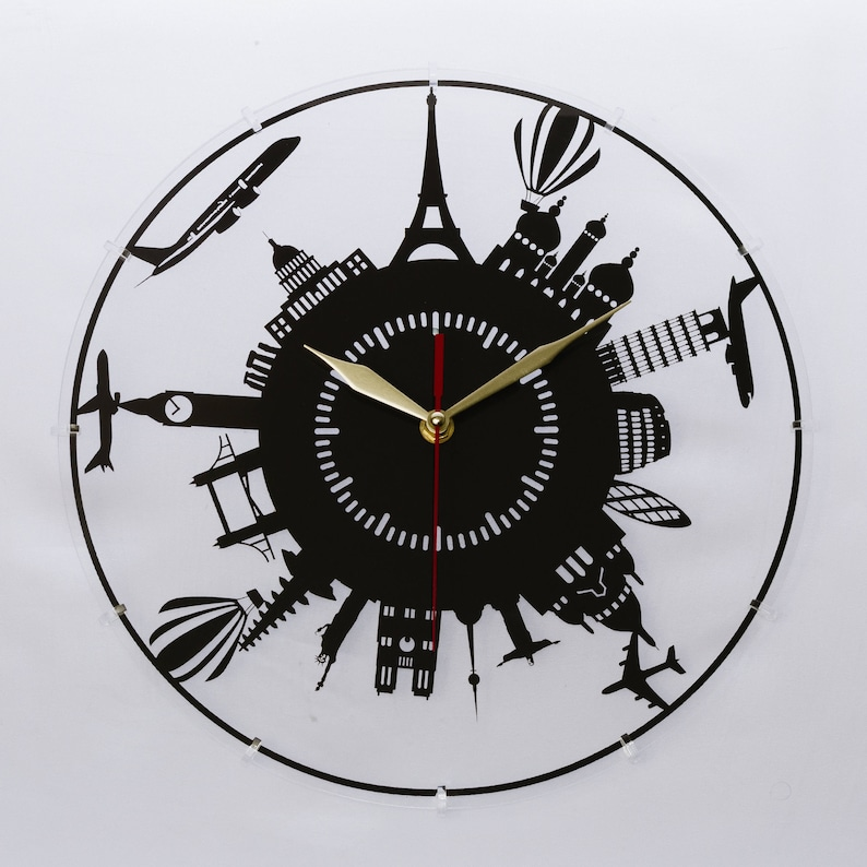 Travel Acrylic clock Laser cutting Wall clock Best gifts for image 0