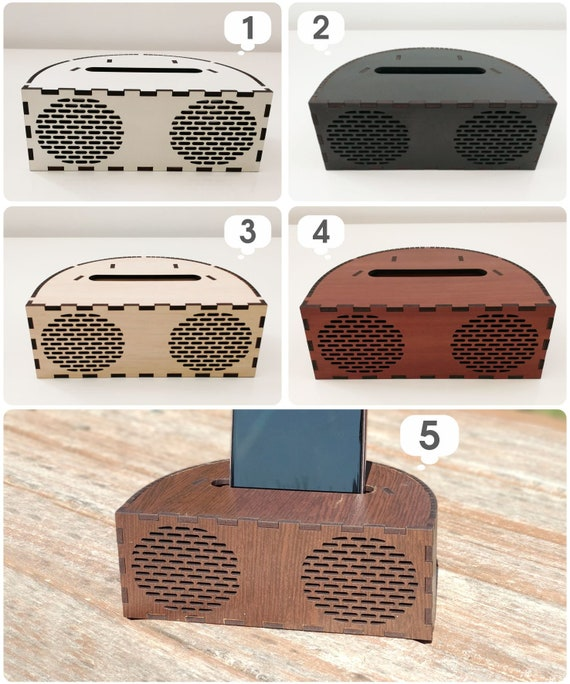 White music speaker Phone wood holder Sound amplifier Wooden table decor Rustic table space Gifts for couples Gifts for women Art wood table