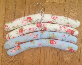 Four luxury padded coat hangers in classic Cath Kidston fabric