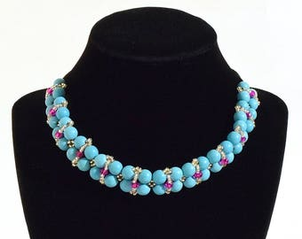 Turquoise, Pink and Silver Beaded Necklace- crafted by Nepalese human trafficking victims