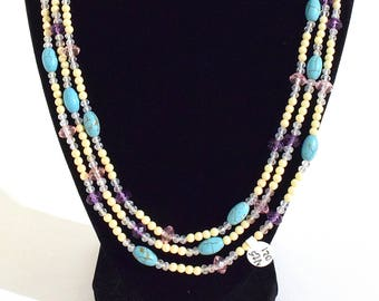 Layerable Off-White, Turquoise, Purple, Light Pink and Transparent Beaded Necklace- crafted by Nepalese human trafficking victims
