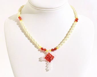 Faux Pearl, Red and Yellow Beaded Cross Necklace- crafted by Nepalese human trafficking victims