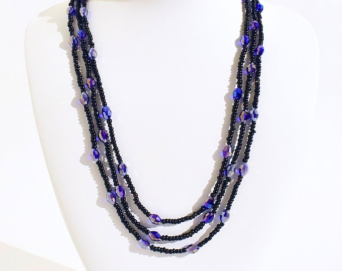 Layerable Black and Indigo Beaded Necklace- crafted by Nepalese human trafficking victims