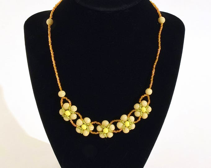 Cream, Yellow, Orange and Light Green Beaded Flowers Necklace- crafted by Nepalese human trafficking victims