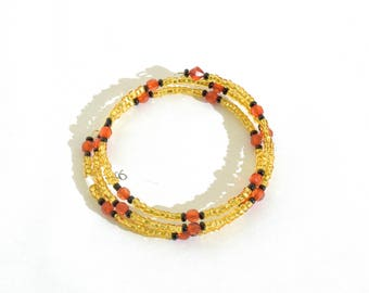 Golden, Red and Black Beaded Wrap-Around Bangle- crafted by Nepalese human trafficking victims