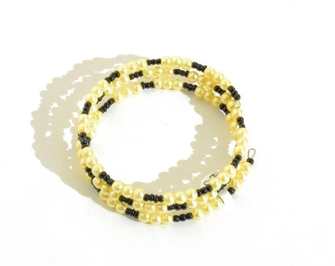 Yellow Faux Pearl and Black Beaded Wrap-Around Bangle- crafted by Nepalese human trafficking victims