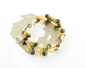 Marbled Black, Off-White and Wooden Beaded Wrap-Around Bangle- crafted by Nepalese human trafficking victims