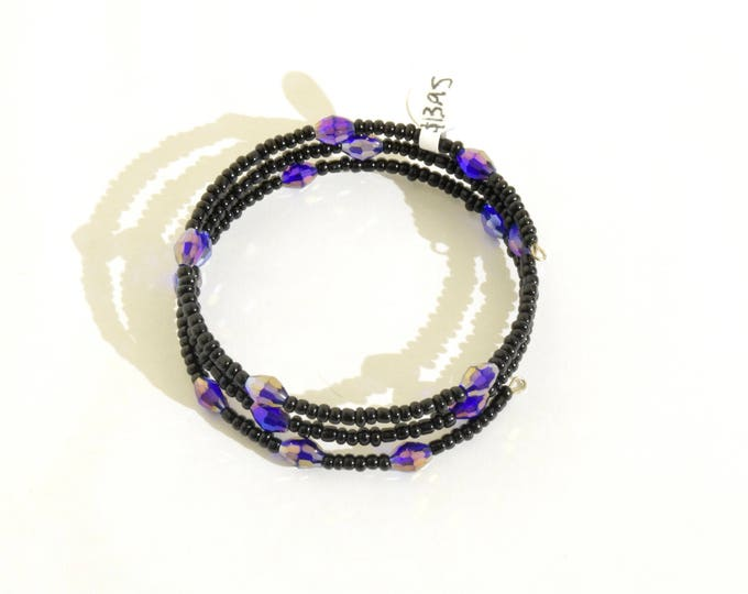 Black and Iridescent Indigo Beaded Wrap-Around Bangle- crafted by Nepalese human trafficking victims