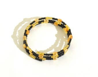 Golden and Black Beaded Wrap-Around Bangle- crafted by Nepalese human trafficking victims