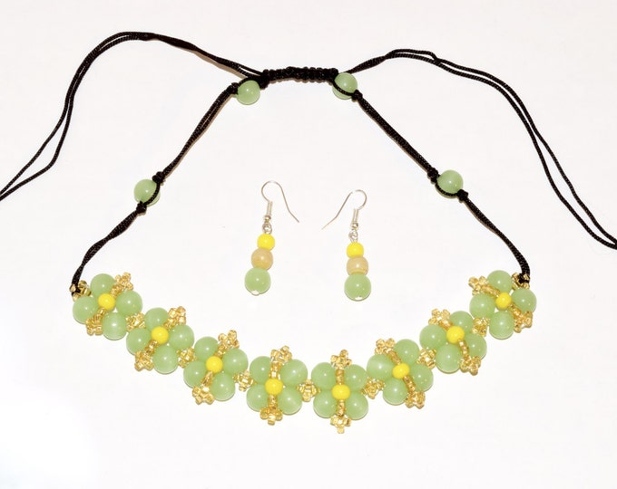 Green, Yellow and Gold Beaded Flowers Necklace/Earring Set- crafted by Nepalese human trafficking victims
