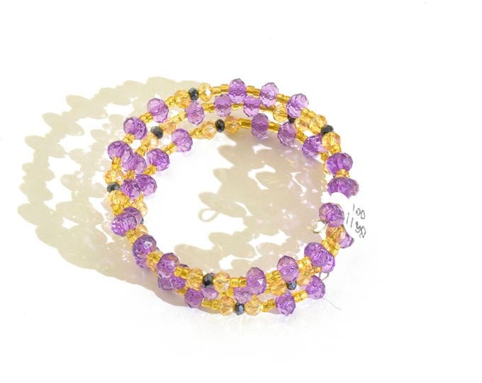 Purple, Golden and Black Beaded Wrap-Around Bangle- crafted by Nepalese human trafficking victims