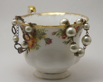 Cream Pearl Necklace, Bronze and Cream Glass Pearl Necklace, Beaded Pearl Necklace, Bronze Pearl Necklace, Bronze Jewelry