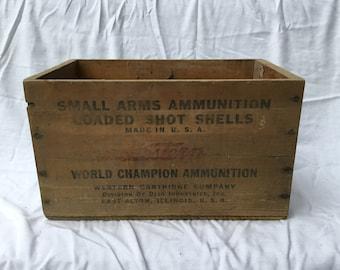 Small arms ammunition, loaded shot shells  wooden box