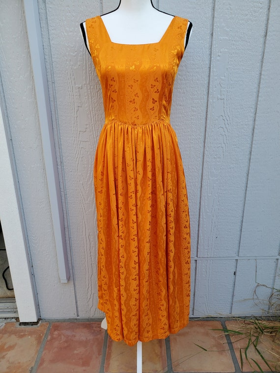 Orange Square-Neck Vintage Maxi Dress