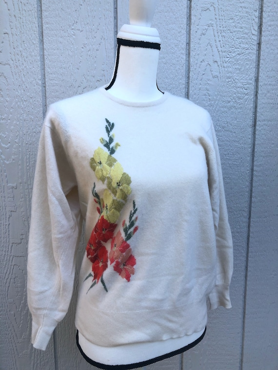 Vintage Embroidered Cashmere Sweater
