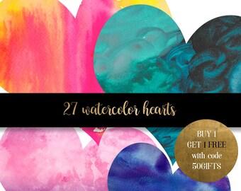 Watercolor hearts clipart, dark watercolor heart clipart, watercolor clip art, watercolour graphics, heart graphics, scrapbook clipart