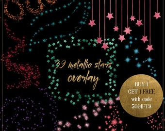 gold stars clipart metallic star overlay metallic glitter stars starry night sky pink foil stars celestial clipart gold stars border