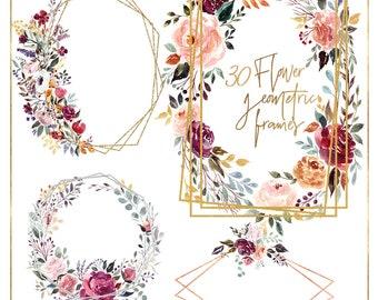 97cdd159e575 Pink flower geometric frames clipart