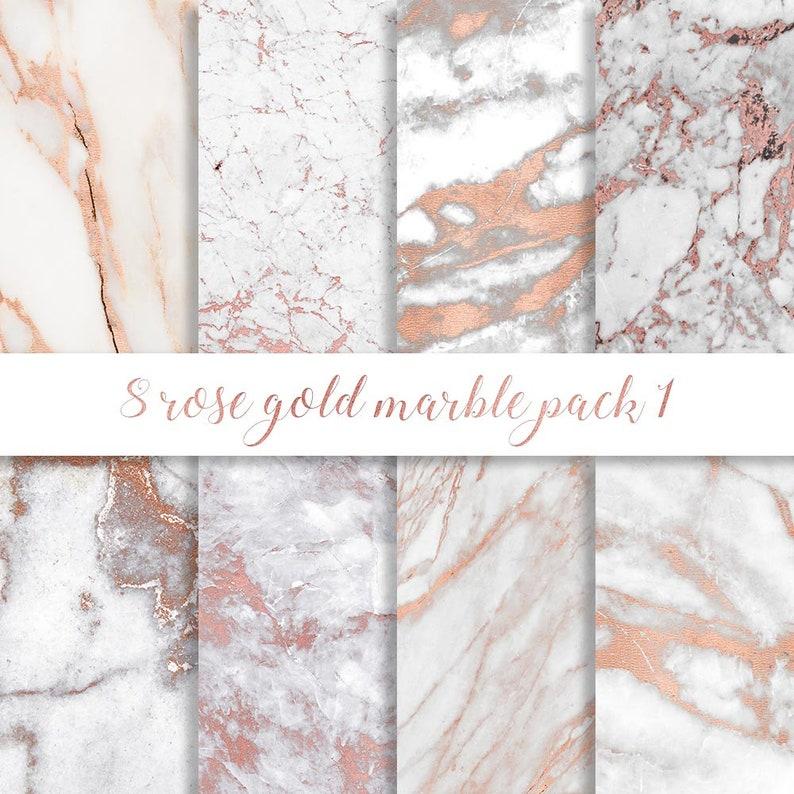 Rose Gold Marble Digital Paper Rose Gold Marble Paper Rose