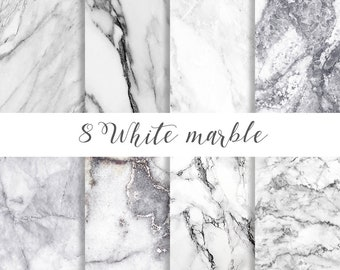White marble digital paper, White marble paper, Marble paper, marble backgrounds, Stone paper, Black and white marble commercial use