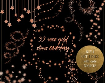 rose gold stars clipart rose gold star overlay rose gold glitter stars starry night sky rose gold foil stars rose gold stars border