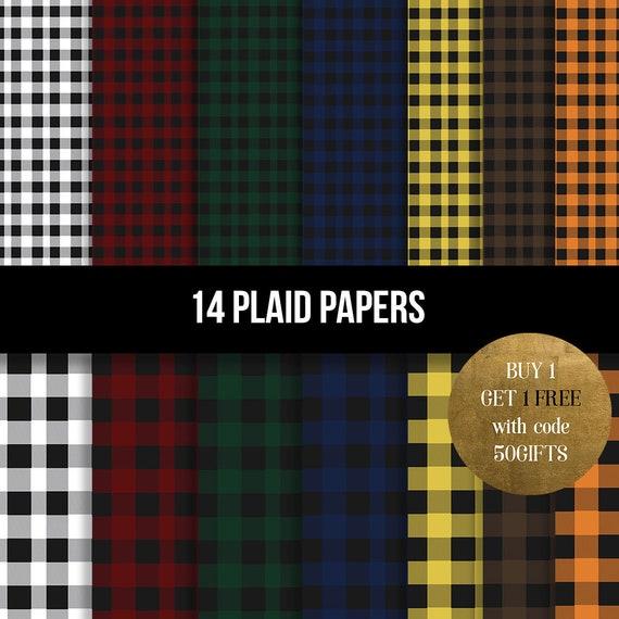 Buffalo Plaid Digital Paper Plaid Paper Christmas Etsy