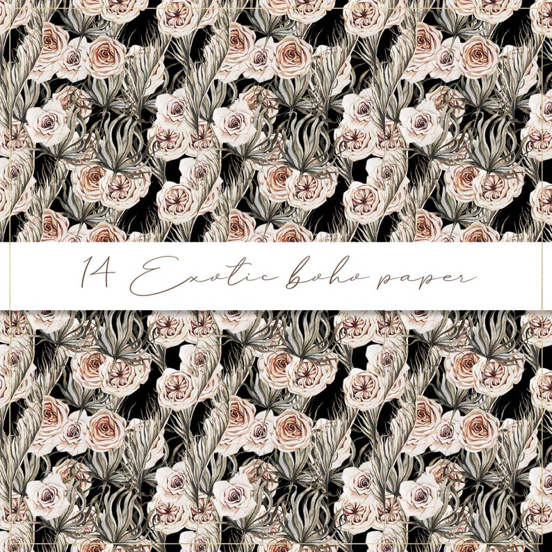 palm leaves seamless pattern white orchids paper Exotic boho digital paper tropical background palm exotic leaves watercolor flower