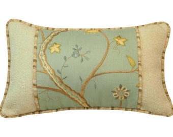Blue Floral Embroidered Pillow, Farmhouse Pillow, Mothers Day Gift, Shabby Chic, Botanical Print, Cushion, Home Decor, Floral, Lumbar Pillow