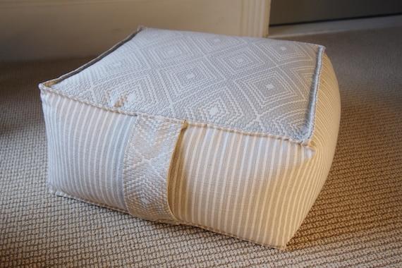 Wool Handmade Pillow Moroccan Floor Cushion Home Decor Square Design Boujaad Floor Cushion Pouf Footstool Pouf Home Chair