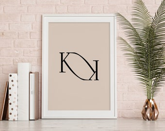 Items Similar To Hand Drawn Monogrammed Print 8x10 The Letter D