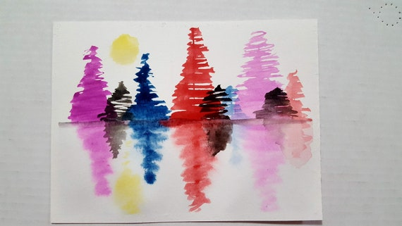 Quick watercolor art on a postcard custom calligraphy gifts for her Pick your colors painting stationery SET OF 5