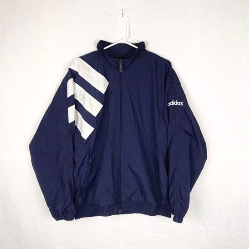 Vintage 90s Adidas Windbreaker, Graphite Blue Sport Jacket