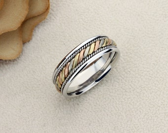 63645439e945d Tri color braid ring | Etsy