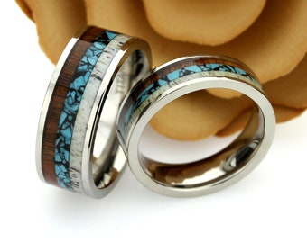 db3baf7743 His And Hers Titanium Wedding Band Set, 8mm 6mm, Wood Antler Turquoise  Inlay, Titanium Promise Ring Set, Titanium Ring For Couple