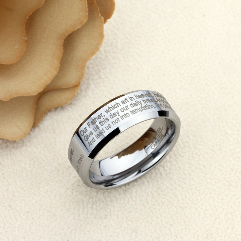 Mens Womens Tungsten Wedding Band Promise Ring Personalized Outside Inside Engraving 8mm Nano Engraving Mass Phrase Upto 400 Characters