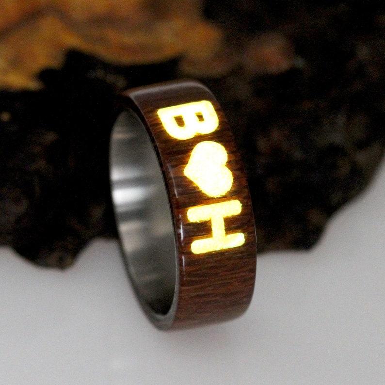 Titanium Wood Wedding Band Bent Wood Wedding Band Men Women Custom Inlay With Glow In The Dark Natural Wood Ring For Men Women