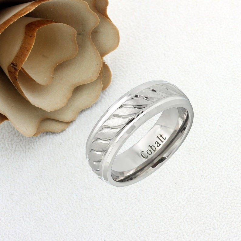 8b56edaf0c0ff Cobalt Wedding Band Men Women, 8mm Brushed Center Carved Squiggly Design,  Cobalt Promise Ring Men Women