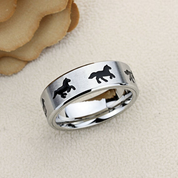 Stainless Steel Footprints Comfort Fit Wedding Flat Band Ring with Clear CZ