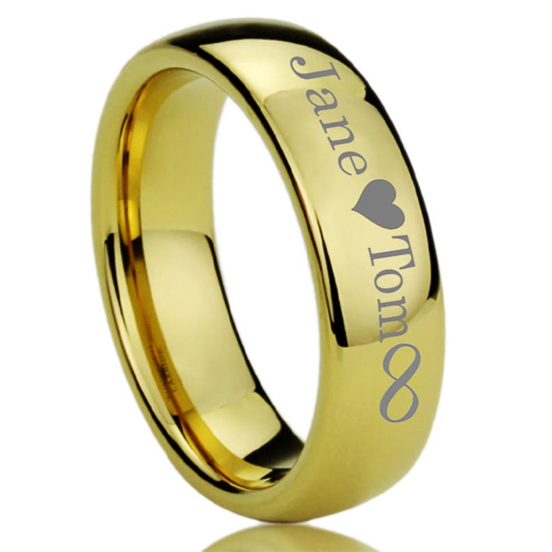 Men/'s Women/'s Tungsten Wedding Band Promise Ring Personalized Outside Inside Custom Engraving 7mm High Polished Domed Yellow Tone Ring
