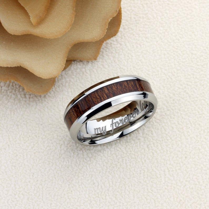 Titanium Promise Ring Men Women 8mm Hawaiian Koa Wood Inlay Beveled Edges Titanium Wedding Band Men Women