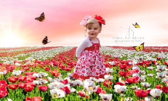 Spring valentines digital backdrop pink poppy flower field etsy image 0 mightylinksfo