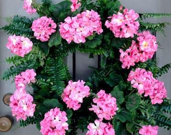 Pink Geranium Wreath
