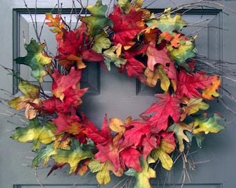 Fall Leaf & Twig Wreath