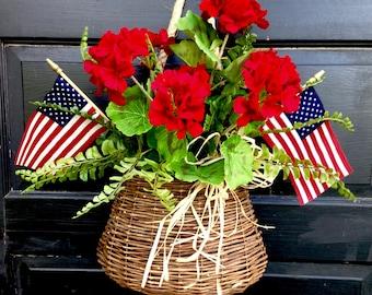 Patriotic Red Geranium Door Basket
